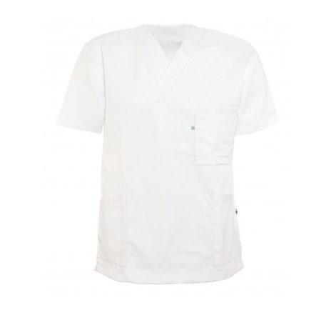 helseklaer-kittel-unisex-270-v-hals-og-kort-erme-hvit
